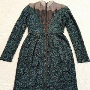 J. Mendel*Green LACE LONG SLEEVE DRESS*U 2 $1895